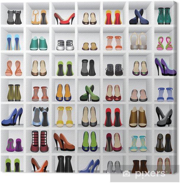 Obraz na płótnie Buty na półkach - Moda