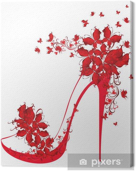 Obraz na płótnie Buty na wysokim obcasie ozdobione motyle - Moda