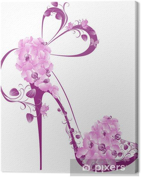 Obraz na płótnie Buty na wysokim obcasie ozdobione orchidee - Moda