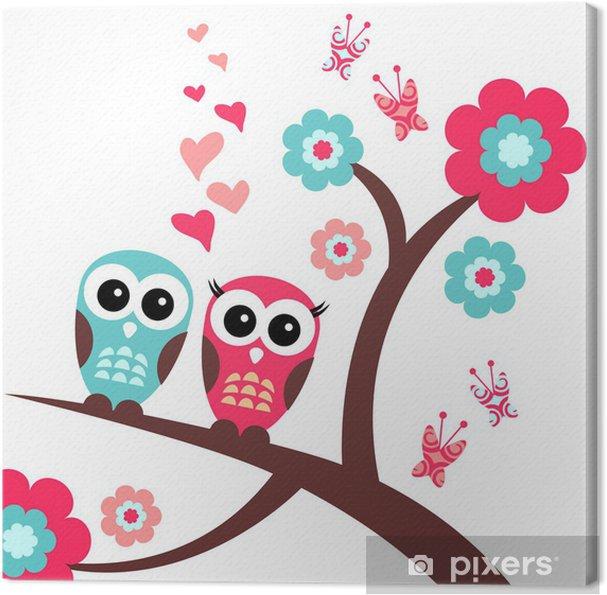 Obraz na płótnie Całkiem romantyczną kartkę z sowy - Dla przedszkolaka