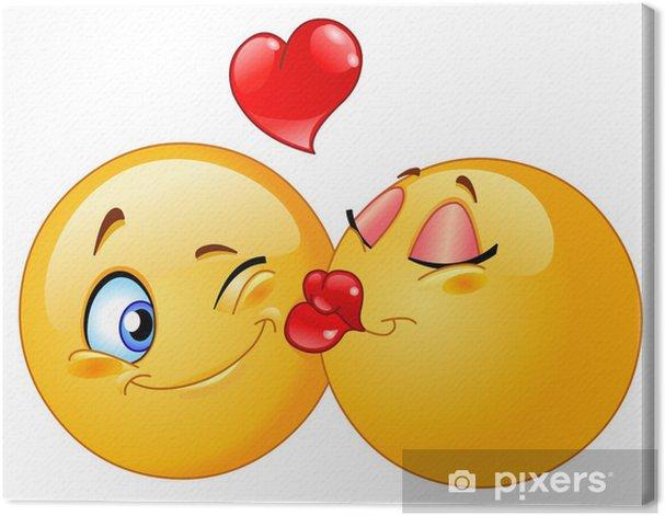 Obraz na płótnie Całowanie emotikonów - Naklejki na ścianę