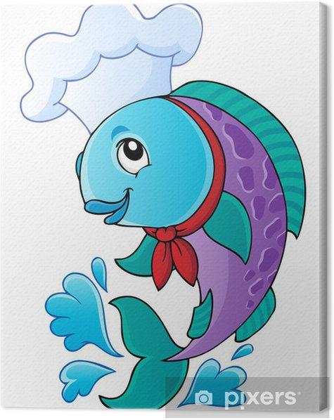 Obraz na płótnie Cartoon chef ryby - Naklejki na ścianę