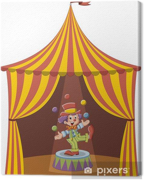 Obraz na płótnie Cartoon clown chłopak żonglerka kolorowe kulki - Rozrywka