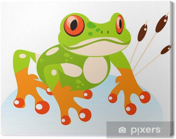 Obraz na płótnie Cartoon Cute Friendly Frog, Colorful Red-eyed Tree Frog - Inne Inne