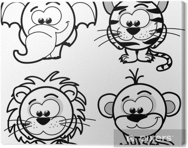 Obraz na płótnie Cartoon cute zwierząt, wektor - Ssaki