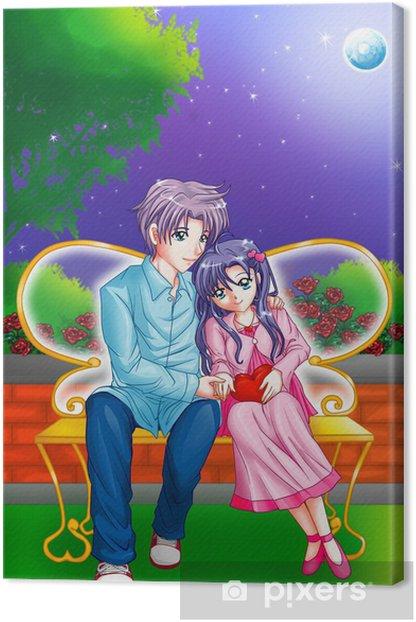 Obraz na płótnie Cartoon ilustracja para przytulanie na ławce w parku - Tematy