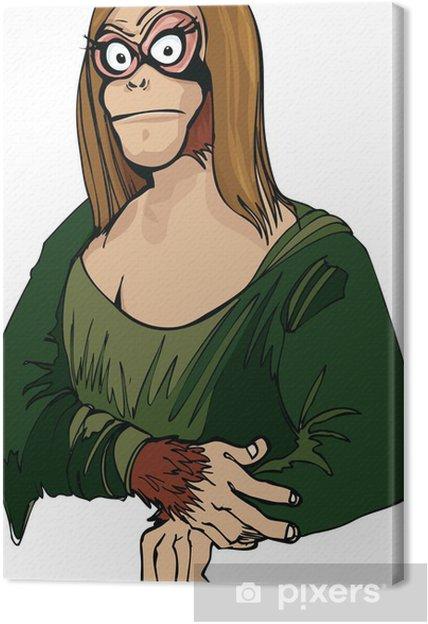 Obraz na płótnie Cartoon Mona Lisa jako małpa - Sztuka i twórczość