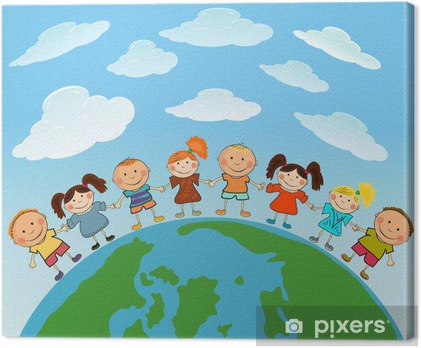 Obraz na płótnie Cartoon ziemi z dziećmi - Przeznaczenia