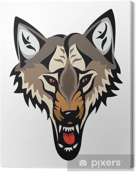 Obraz na płótnie Cartoon zły głowa wilka na białym tle - Ssaki