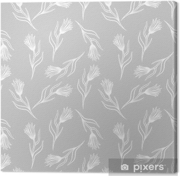 Obraz na płótnie Chaber wektor wzór. ręcznie rysowane doodle atrament kwiatowy druk tkanina tekstylna. kwiaty pole knapweed na szarym tle. - Zasoby graficzne