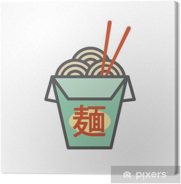"""Obraz na płótnie Chiński lub Azji wynos Box z makaronem i japońskie kanji, które mówią """"Noodles"""". - Jedzenie"""