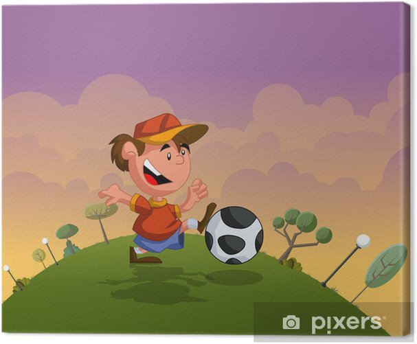Obraz na płótnie Chłopiec Cartoon gry z piłki nożnej na zielonym parku - Rolnictwo