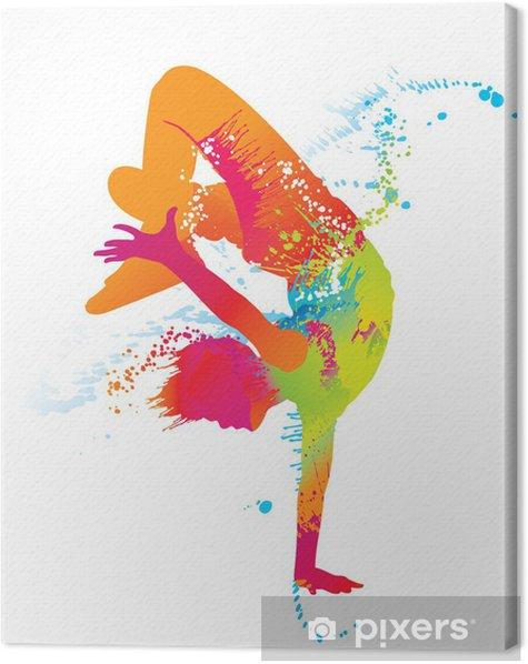 Obraz na płótnie Chłopiec taniec z kolorowe plamy i odpryskami. wektor - Tematy