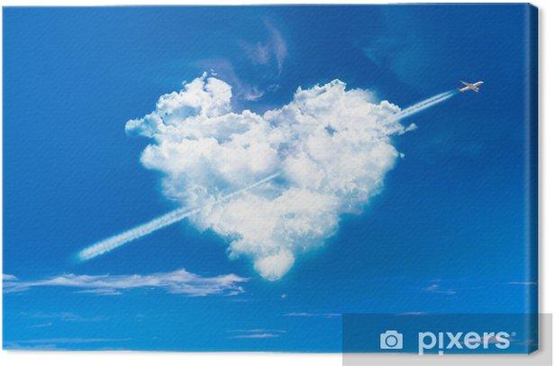Obraz na płótnie Chmura w kształcie serca i samolot - Święta międzynarodowe