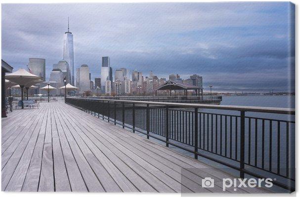 Obraz na płótnie Chodnik nabrzeża rzeki Hudson New Jersey miasto - Miasta amerykańskie