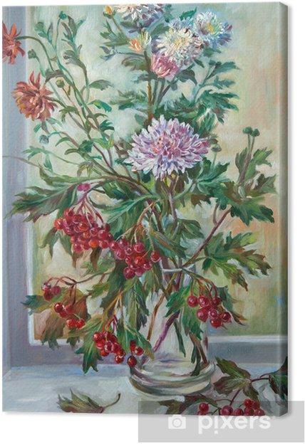 Obraz na płótnie Chryzantemy i dzikie popiołu - Kwiaty