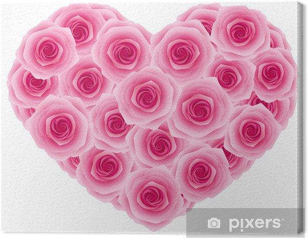 Obraz na płótnie Ciemny róża różowy serce - Kwiaty