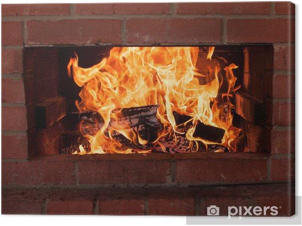 Obraz na płótnie Ciepłe płomienie spalania w kominku - Tekstury