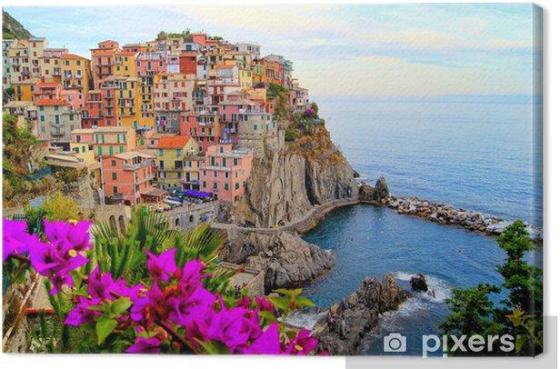 Obraz na płótnie Cinque Terre wybrzeża Włoch z kwiatami - Tematy