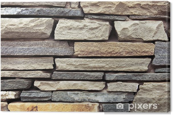 Obraz na płótnie Close-up starożytny mur z cegły granitu szczupła. - Tekstury