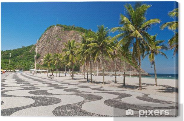 Obraz na płótnie Copacabana z palmami i mozaiki chodnika w Rio de Janeiro - Miasta amerykańskie