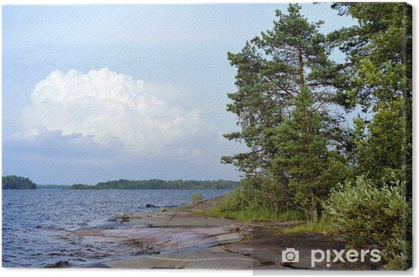Obraz na płótnie Cummulus chmura i kamieniste brzegu jeziora Ładoga, Rosja - Woda