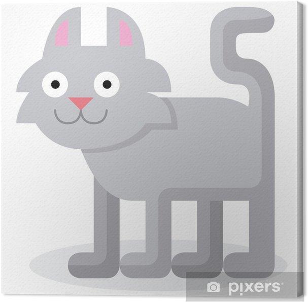 Obraz na płótnie Cute Cartoon Kot samodzielnie na białym tle - Ssaki