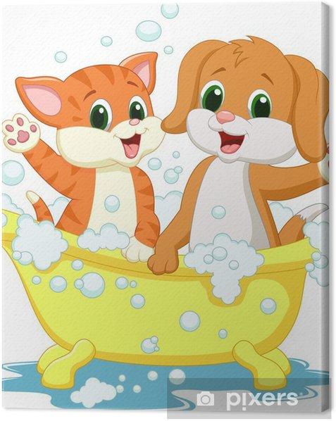 Obraz na płótnie Cute kotów i psów czas kąpieli - Naklejki na ścianę