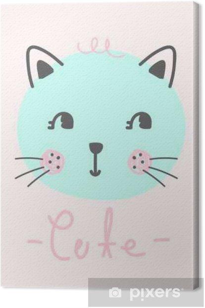 Obraz na płótnie Cute kreskówki kotek, kot, wektor - Zasoby graficzne
