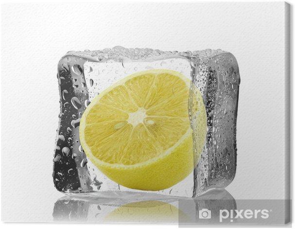 Obraz na płótnie Cytryna w kostce lodu - Owoce