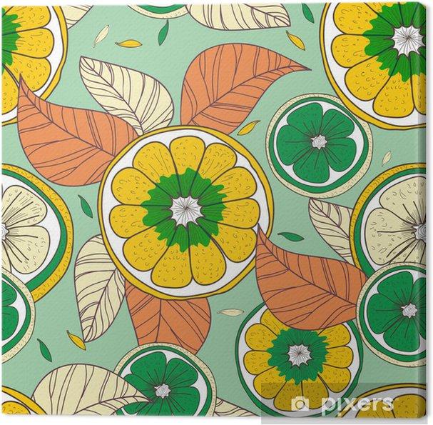 Obraz na płótnie Cytryny z listkami - Tła
