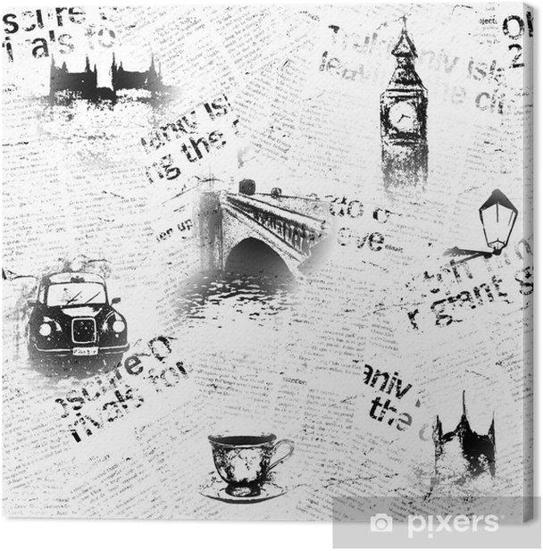 Obraz na płótnie Czarno-białe tło gazety w Londynie - Styl życia