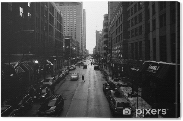 Obraz na płótnie Czarno-Białe Ulice Chicago - Budynki i architektura