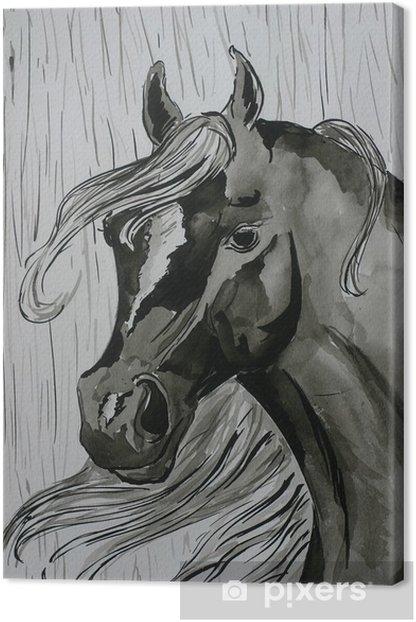 Obraz na płótnie Czarny koń malarstwo - Fikcyjne zwierzęta