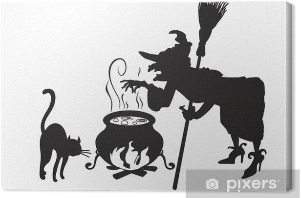 Obraz na płótnie Czarownica z miotła i kotów - Święta międzynarodowe