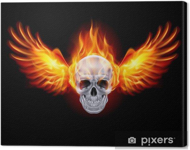 Obraz na płótnie Czaszka ze skrzydłami ognisty ogień. - Tła