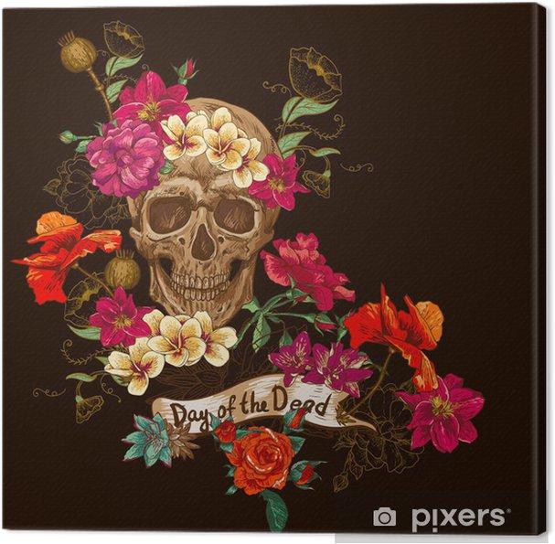 Obraz na płótnie Czaszki i kwiaty dzień żyje - Kwiaty