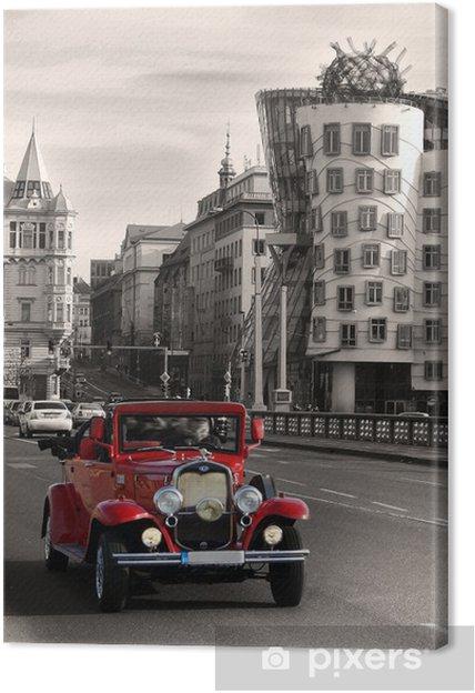 Obraz na płótnie Czerwone piękne samochody zabytkowe w Pradze - Praga