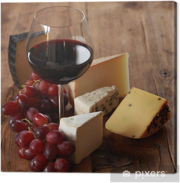 Obraz na płótnie Czerwone wino z serami - Sery