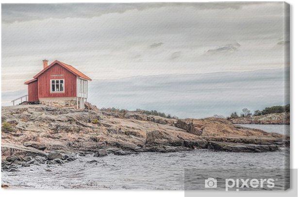 Obraz na płótnie Czerwony dom na brzegu morza w matowych kolorach na jesień - Style