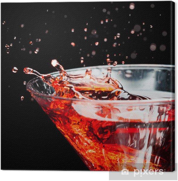 Obraz na płótnie Czerwony koktajl rozpryskiwania na czarno - Alkohol