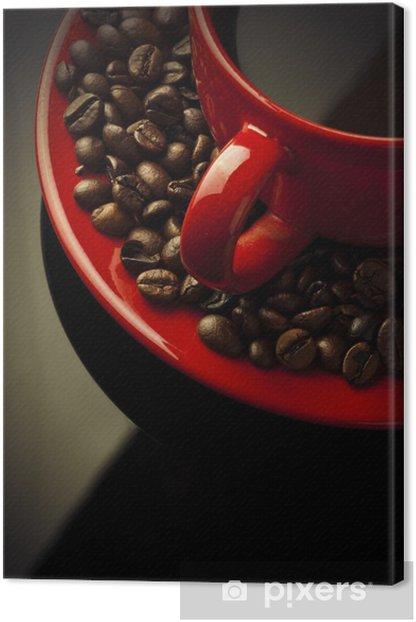 Obraz na płótnie Czerwony kubek kawy i ziarna na czarny - Tematy