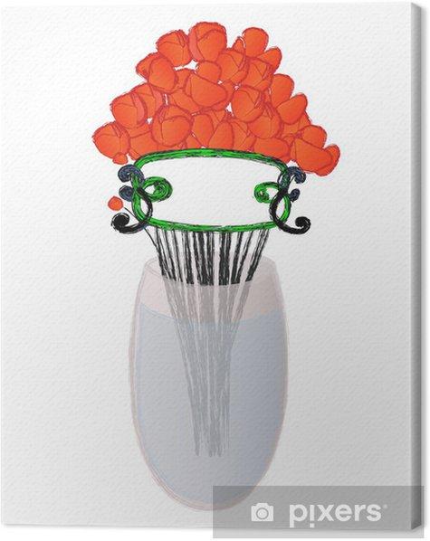 Obraz na płótnie Czerwony mak w wazonie - Kwiaty