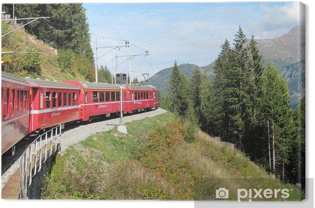 Obraz na płótnie Czerwony pociąg po pięknych górach swiss 19 - Tematy