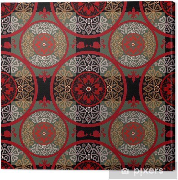 Obraz na płótnie Czerwony streszczenie szwu koronki czarnym tle tekstury - Tła