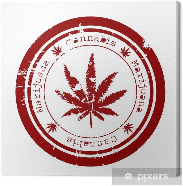 Obraz na płótnie Czerwony znaczek z liści marihuany - Zdrowie i medycyna