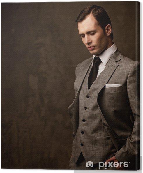 Obraz na płótnie Człowiek w szarym garniturze - Mężczyźni