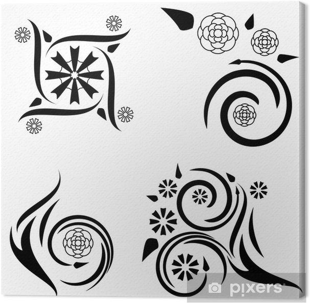Obraz Na Płótnie Cztery Kwiatowe Wzory Tatuaży