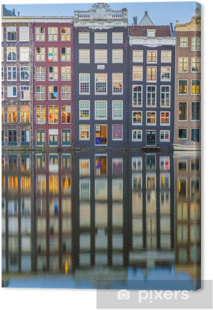 Obraz na płótnie Damrak kanał w Amsterdamie, Holandia. - Miasta europejskie