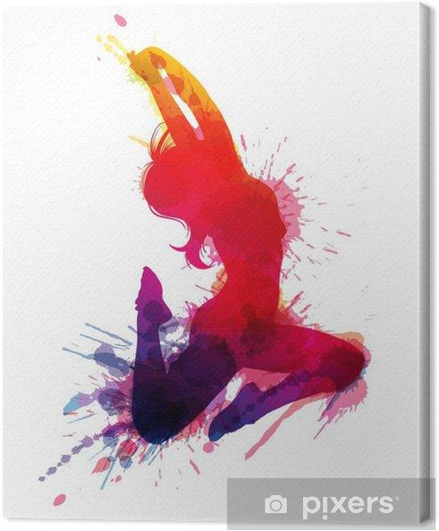 Obraz na płótnie Dancing girl z grungy plamy - Naklejki na ścianę